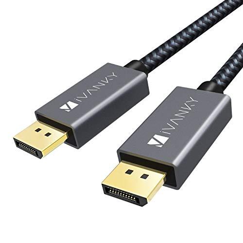 iVANKY DisplayPort Kabel, 2M/4K, DisplayPort auf DisplayPort Kabel (4K@60Hz und 2K@144Hz), DP Kabel geeignet für Monitor,Gaming-Grafikkarte - 2M/ Grau (Verschlussfrei & aus Nylongeflecht)